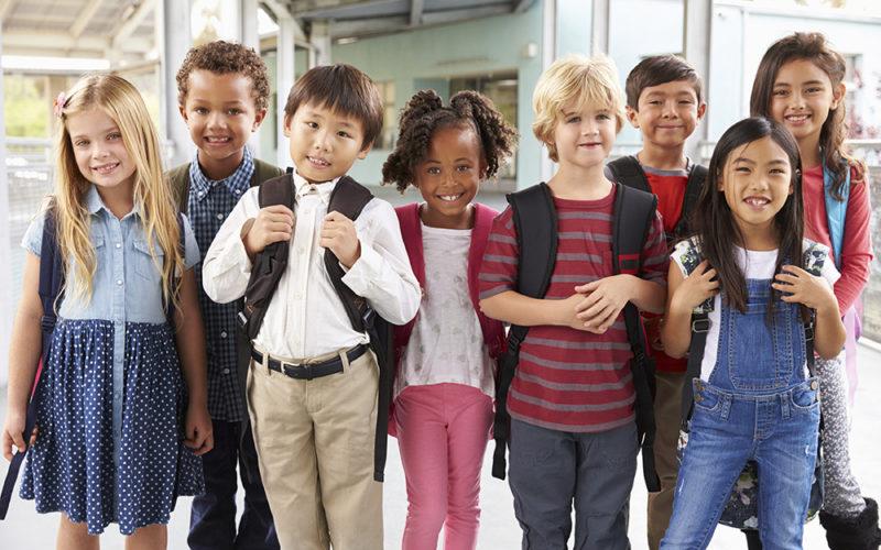 Group Portrait Of Elementary School Kids In School Corridor